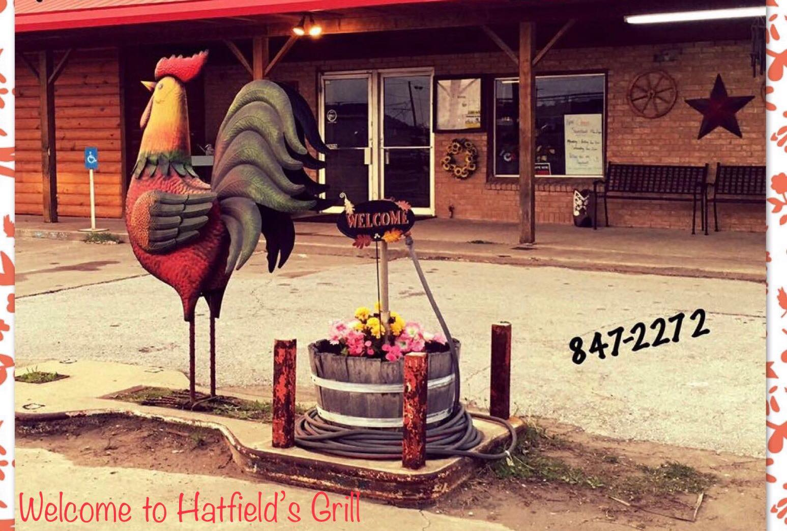 Front of restaurant, Hatfield's Grill in Barnsdall, OK