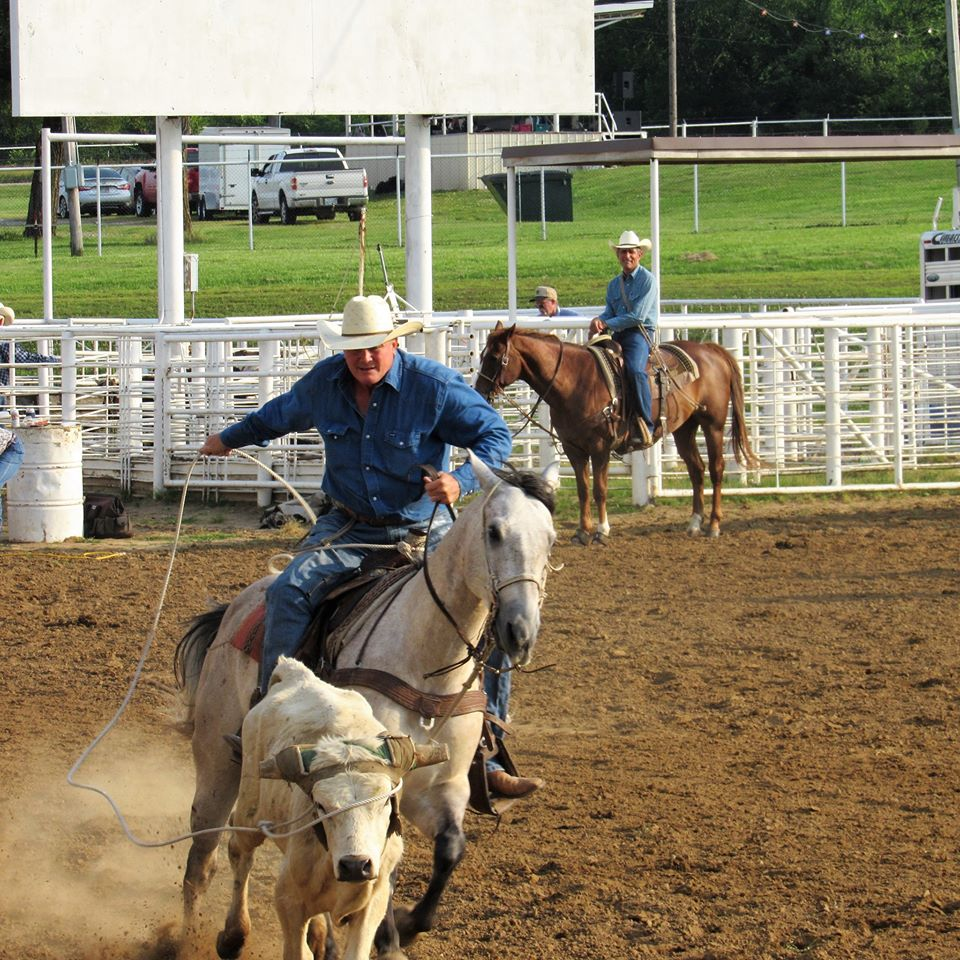 Robin Bland roping a steer in the Osage County Fairgrounds arena