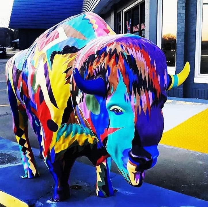 Multi-colored buffalo outside the Osage Nation Visitors Center in Pawhuska