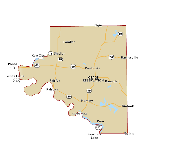 Map of Osage County OK