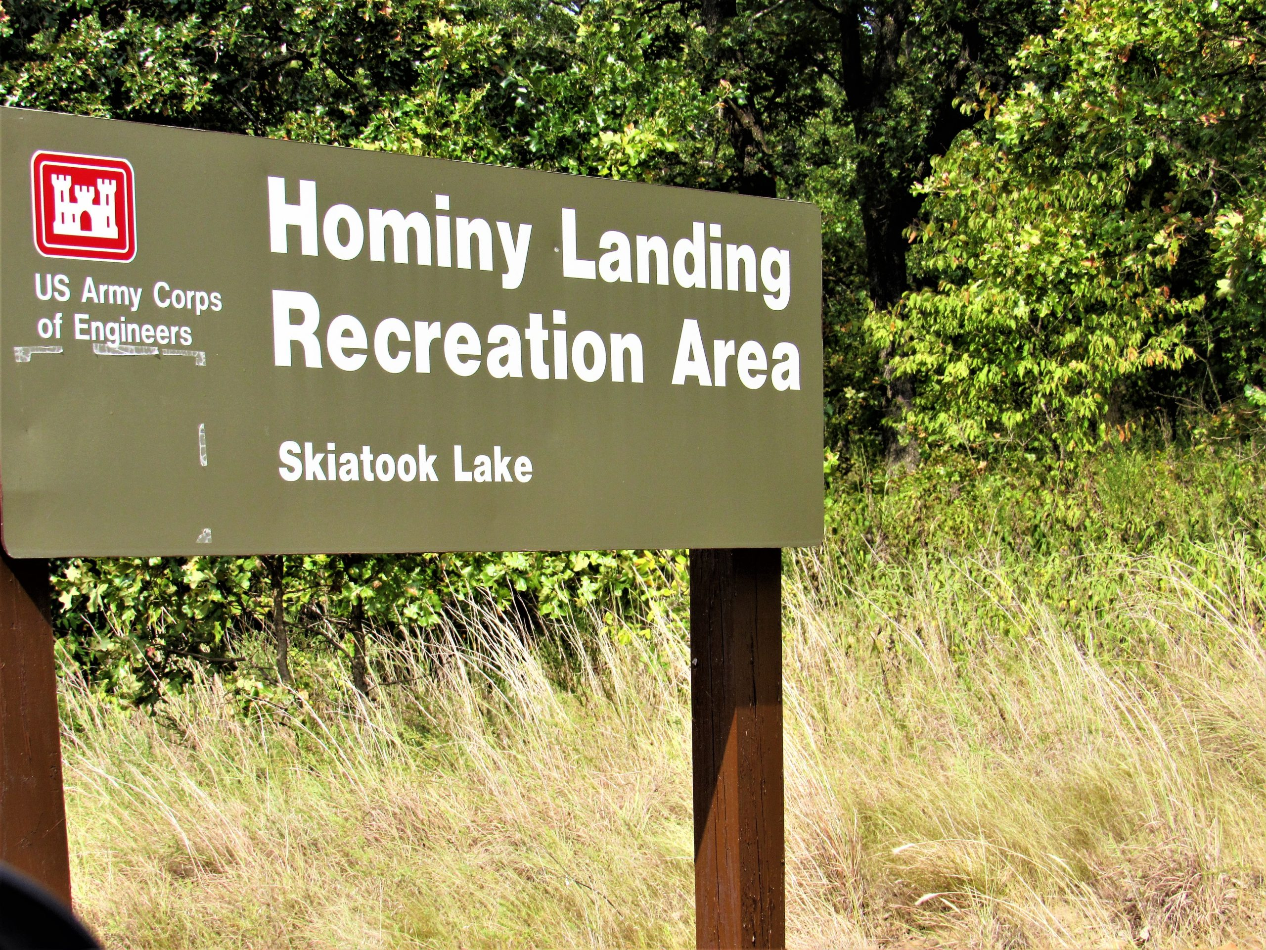 Sign at the entrance to Hominy Landing on Lake Skiatook in Osage County, Oklahoma